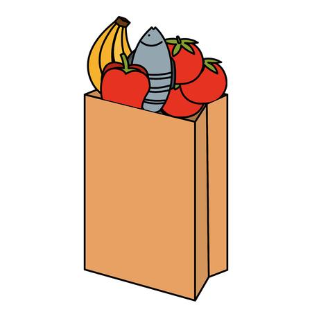 shopping paper supermarket bag with products vector illustration design Illustration