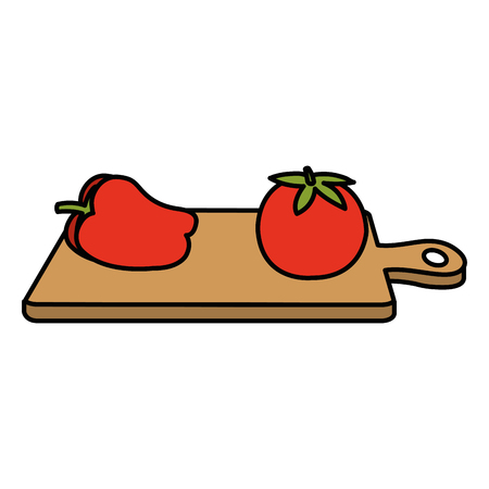 kitchen board with pepper and tomato vector illustration design