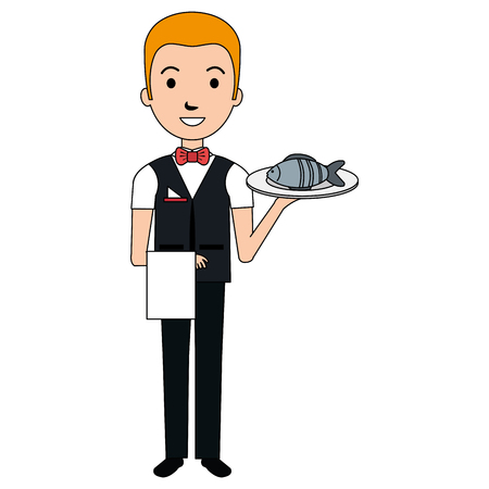 elegant waiter with fish in tray vector illustration design