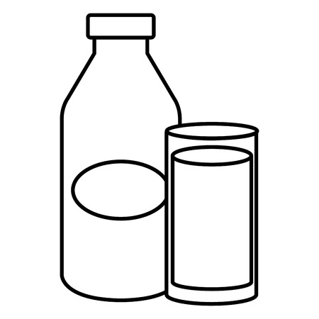 milk bottle with glass vector illustration design