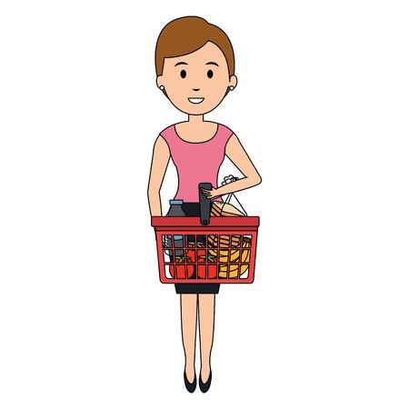 customer with shopping basket vector illustration design Illustration