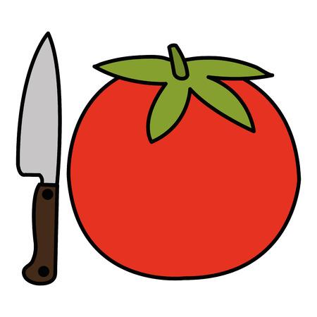 fresh tomato with knife vector illustration design