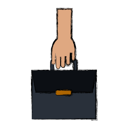 hands with portfolio briefcase isolated icon vector illustration design