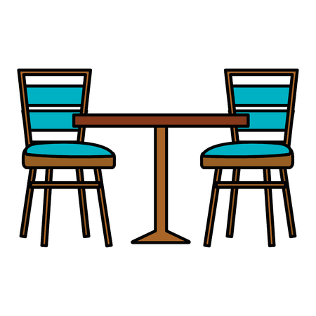 restaurant table and chairs vector illustration design