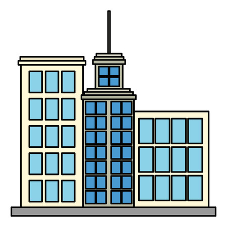 big buildings facade front vector illustration design
