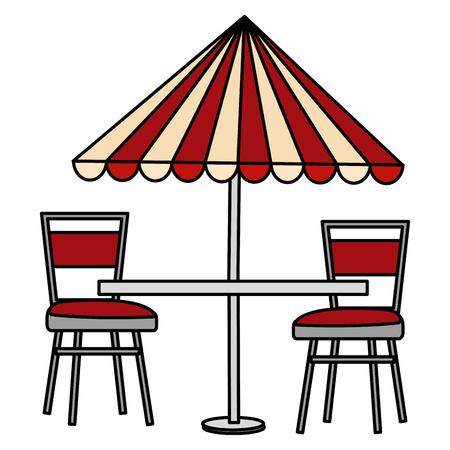 stolik restauracyjny z parasolem i krzesłami wektor ilustracja projekt