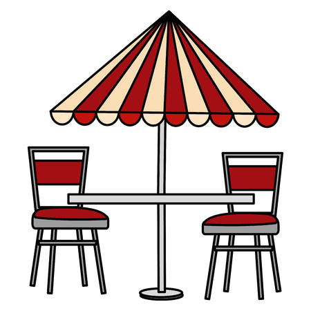 restaurant table with parasol and chairs vector illustration design Vettoriali