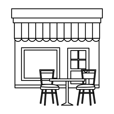 store building front with chairs and table vector illustration design