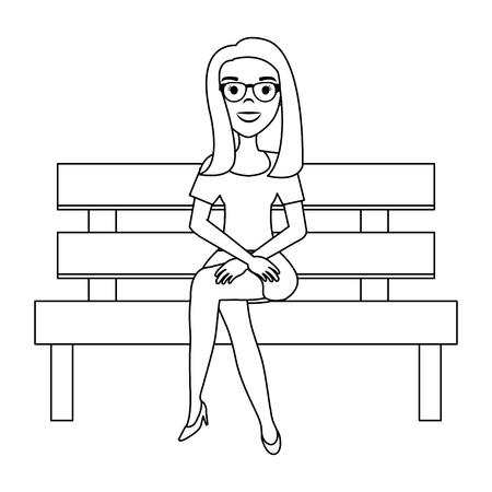 美しい女性ベクトルイラストデザインで木製の椅子を公園