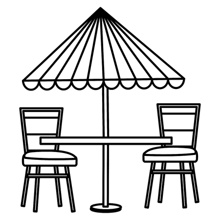 restaurant table with parasol and chairs vector illustration design Illustration