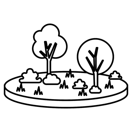 terrain with grass and tree vector illustration design