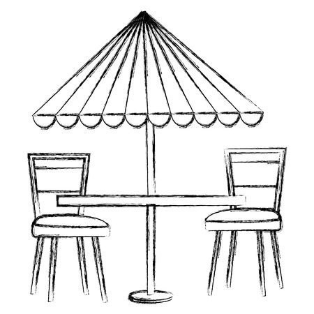 restaurant table with parasol and chairs vector illustration design 向量圖像