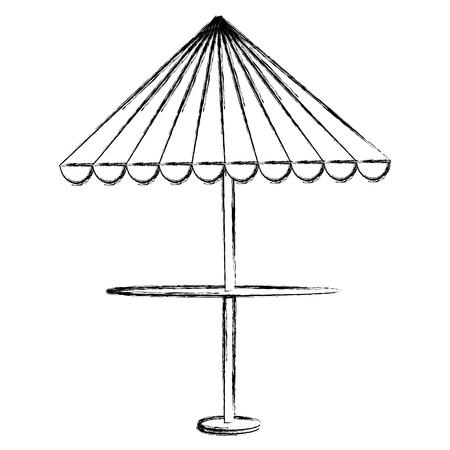 restaurant table with parasol vector illustration design