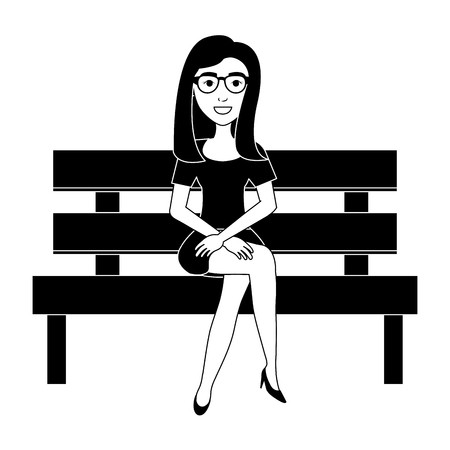 park wooden chair with beautiful woman vector illustration design