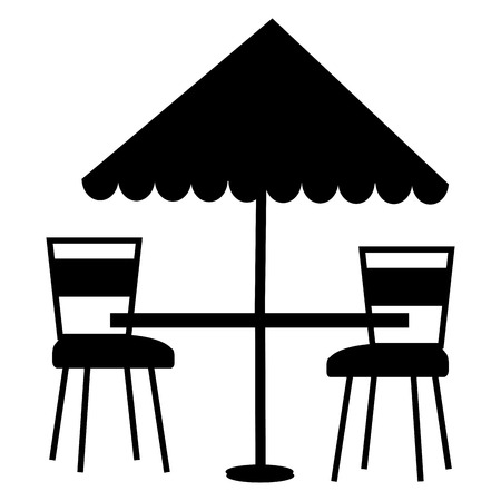 restaurant table with parasol and chairs vector illustration design Ilustrace