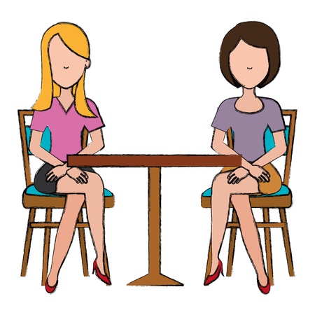 women seat in cafeteria table vector illustration design Illustration