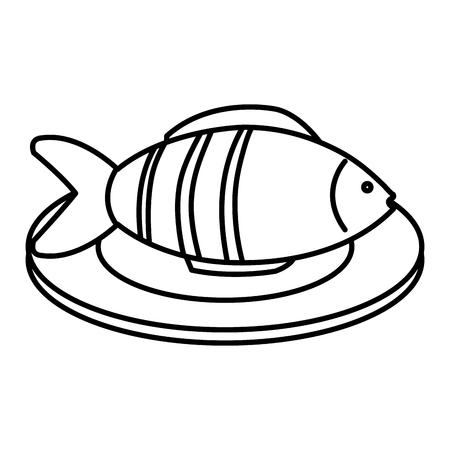 dish with fresh fish isolated icon vector illustration design Ilustrace