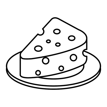 dish with cheese piece isolated icon vector illustration design Ilustração