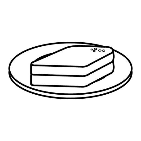 dish with bread sliced isolated icon vector illustration design Illustration