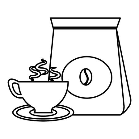 coffee bag with cup vector illustration design