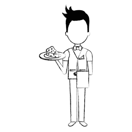 elegant waiter with cheese in tray vector illustration design Stock Vector - 95480715