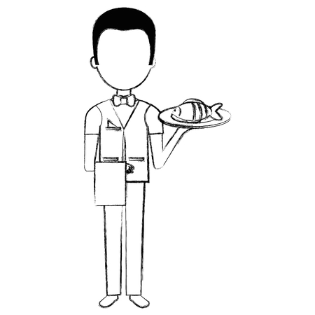 elegant waiter with fish in tray vector illustration design Stock Vector - 95480712