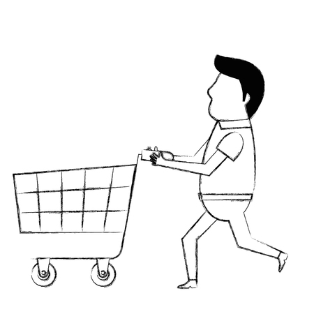 customer with shopping cart character vector illustration design