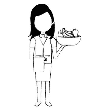 elegant waiter with vegetables in bowl vector illustration design