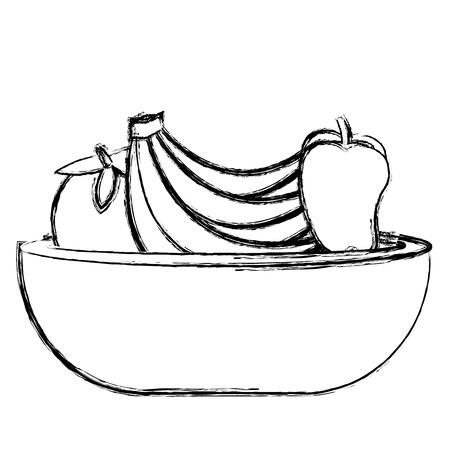 plastic bowl with fruits vector illustration design