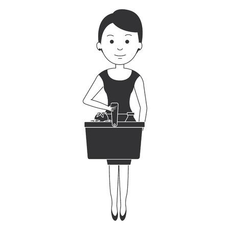 customer with shopping basket vector illustration design Ilustrace