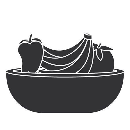 plastic bowl with fruits vector illustration design