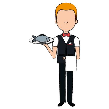 elegant waiter with fish in tray vector illustration design