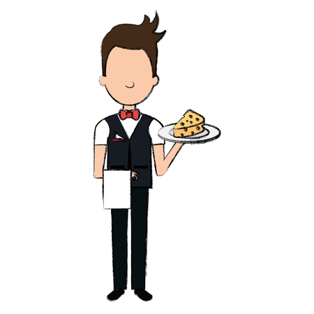 elegant waiter with cheese in tray vector illustration design Illustration