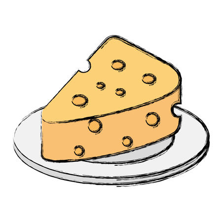 dish with cheese piece isolated icon vector illustration design Stock Illustratie