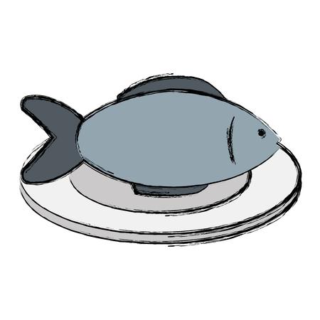 dish with fresh fish isolated icon vector illustration design  イラスト・ベクター素材