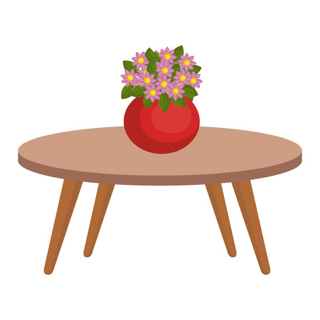living room table with cute vase and flowers decorative vector illustration design