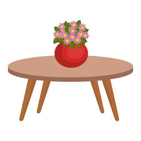 Mesa de sala de estar con lindo jarrón y flores decorativas, diseño de ilustraciones vectoriales