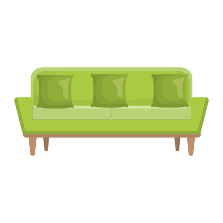 comfortable sofa with pillow vector illustration design