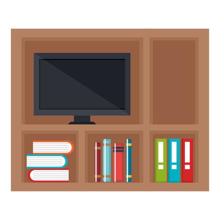 étagères avec des livres et tv icône vector illustration design