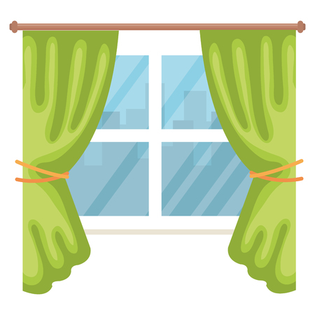 window with courtain isolated icon vector illustration design