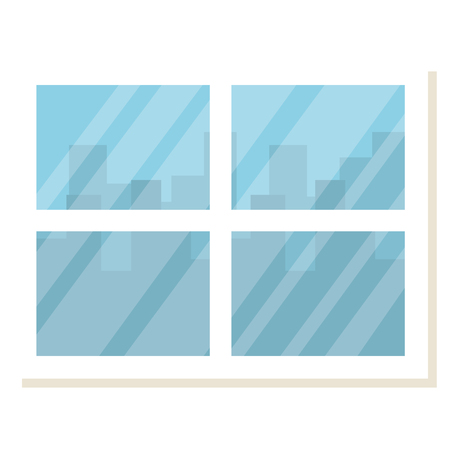 window with cityscape background vector illustration design