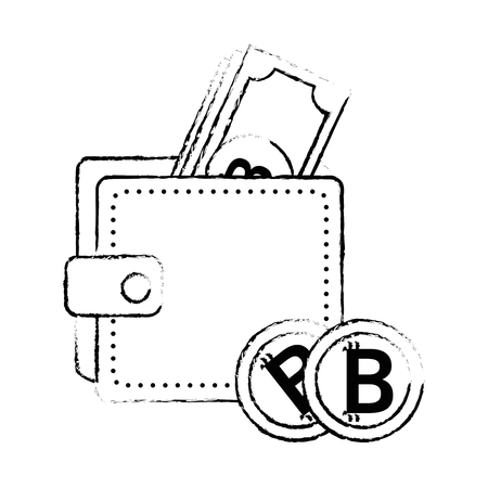 wallet with bill virtual money icon vector illustration design