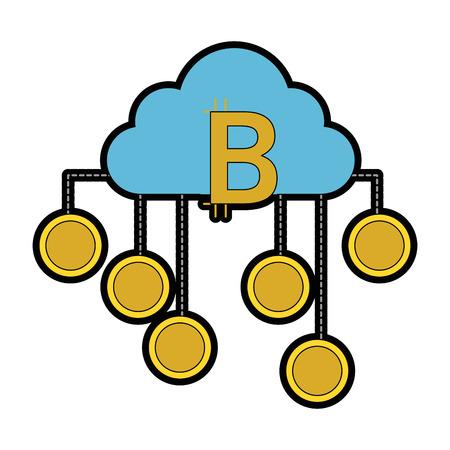 cloud computing with bitcoins vector illustration design Illustration