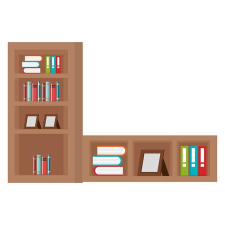 étagère avec livres icône vector illustration design Vecteurs