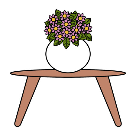 living room table with cute vase and flowers decorative vector illustration design Illustration