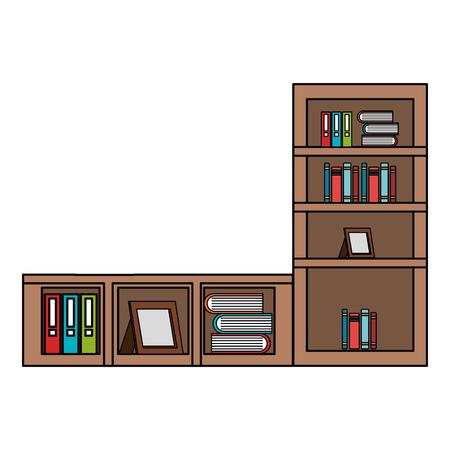 Estante con diseño de ilustración de vector de icono de libros Foto de archivo - 95485385