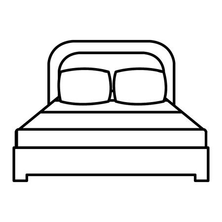 枕の線形ベクトルのイラストの設計が付いた快適なベッド