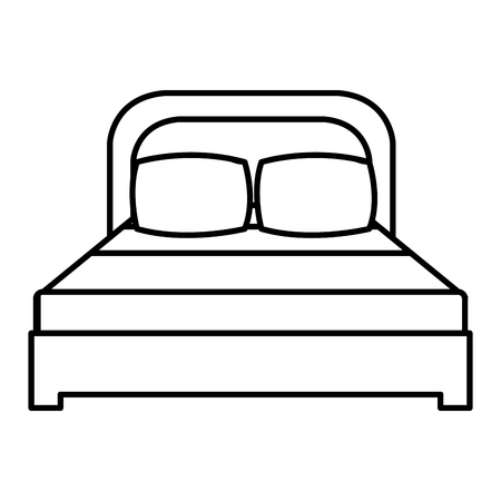 Comfortable bed with pillows linear vector illustration design