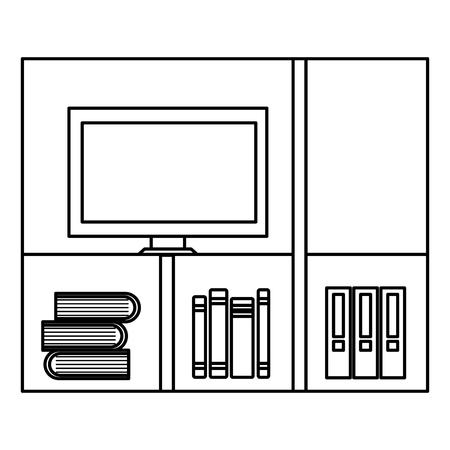 étagères avec des livres et tv icône vector illustration design Vecteurs