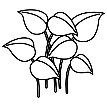 Leafy plants icon vector linear illustration design